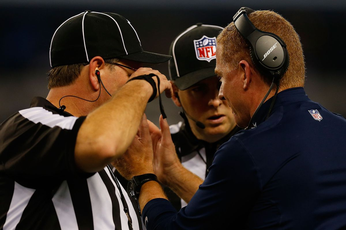 The officials were at the center of the storm during Sunday's Dallas-Detroit game