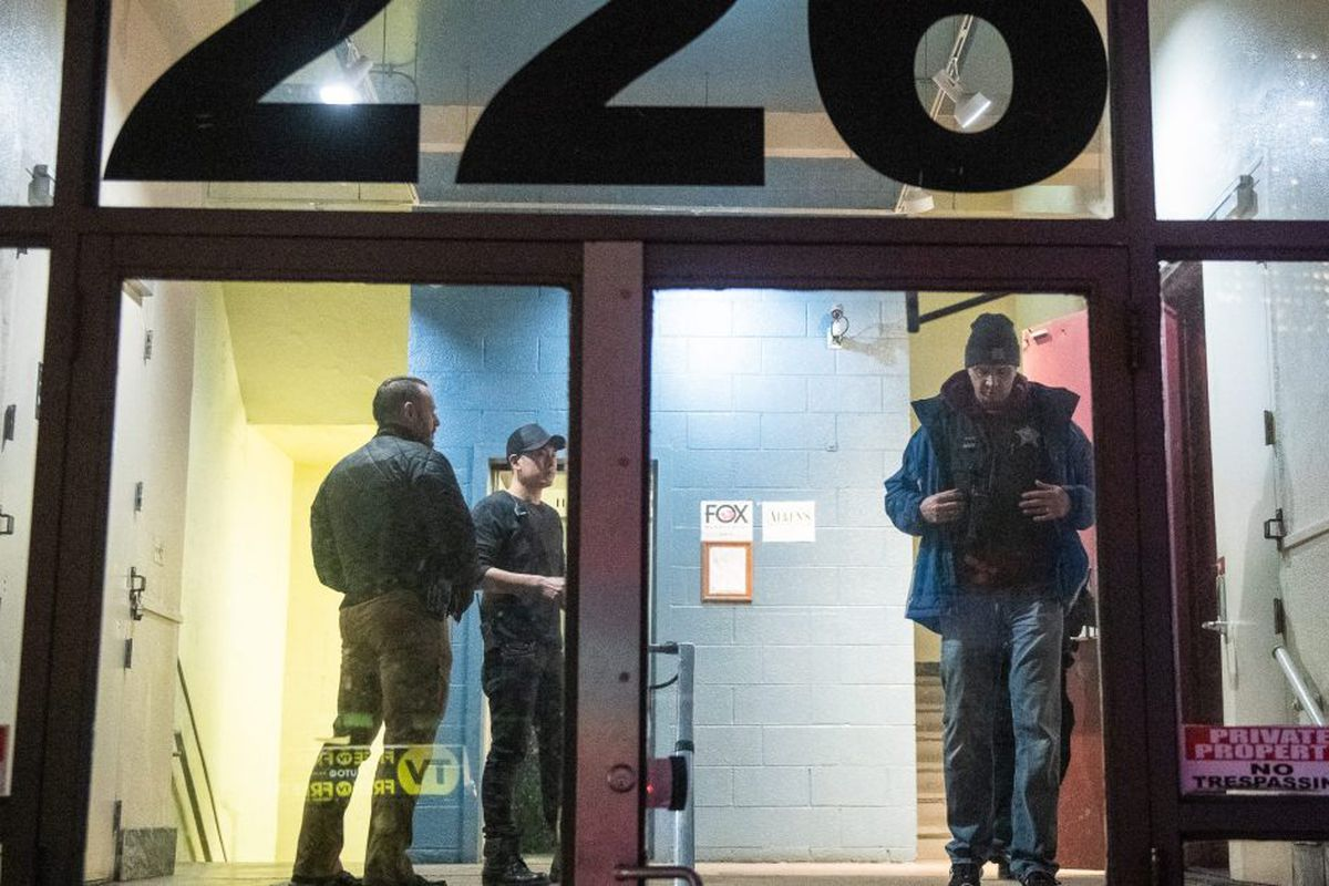 Chicago police investigate the scene where two people were shot outside River North club Sound Bar on March 8, 2019.