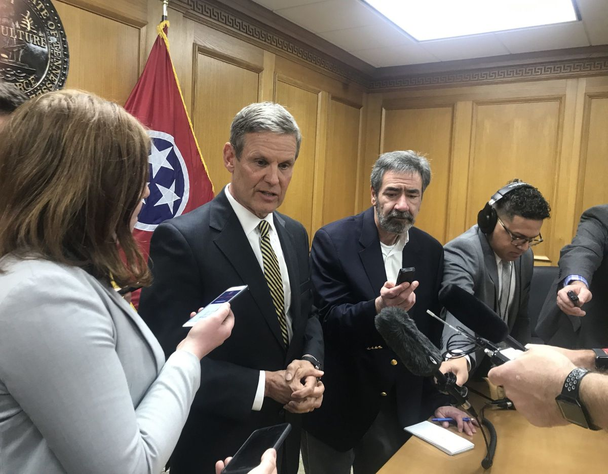 Gov. Bill Lee answers reporters' questions on January 29 at the Capitol in Nashville.