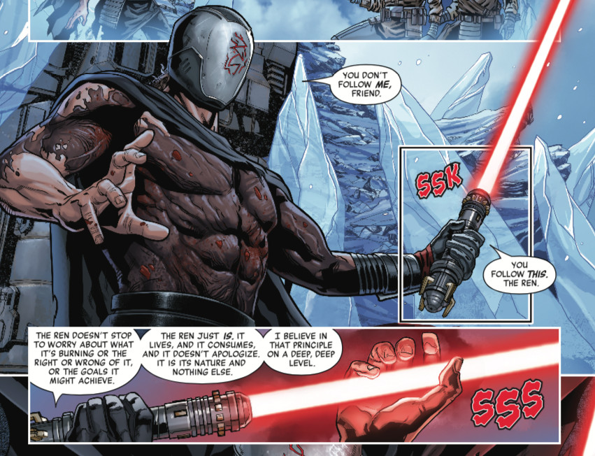 Ren of the Knights of Ren strokes his giant lightsaber