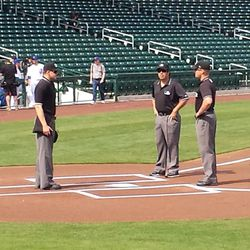 Three umpires worked this game