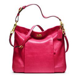 "<a href=""http://www.coach.com/online/handbags/ProductDetailWrapperView?storeId=10551&catalogId=10051&langId=-1&partNumber=21224_b4p6&cid=D_B_RAC_2954"">Madison Leather Isabelle</a> in punch, $358"