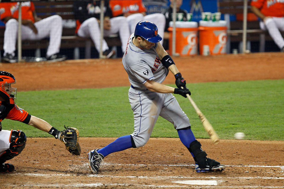 MIAMI, FL - MAY 12:  David Wright #5 of the New York Mets hits during a game against the Miami Marlins at Marlins Park on May 12, 2012 in Miami, Florida.  (Photo by Sarah Glenn/Getty Images)