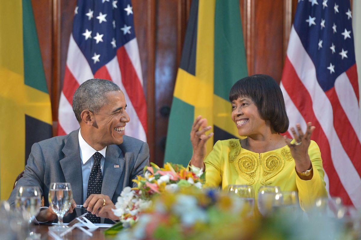 President Obama with Jamaican Prime Minister Portia Simpson Miller on April 9, 2015 in Kingston
