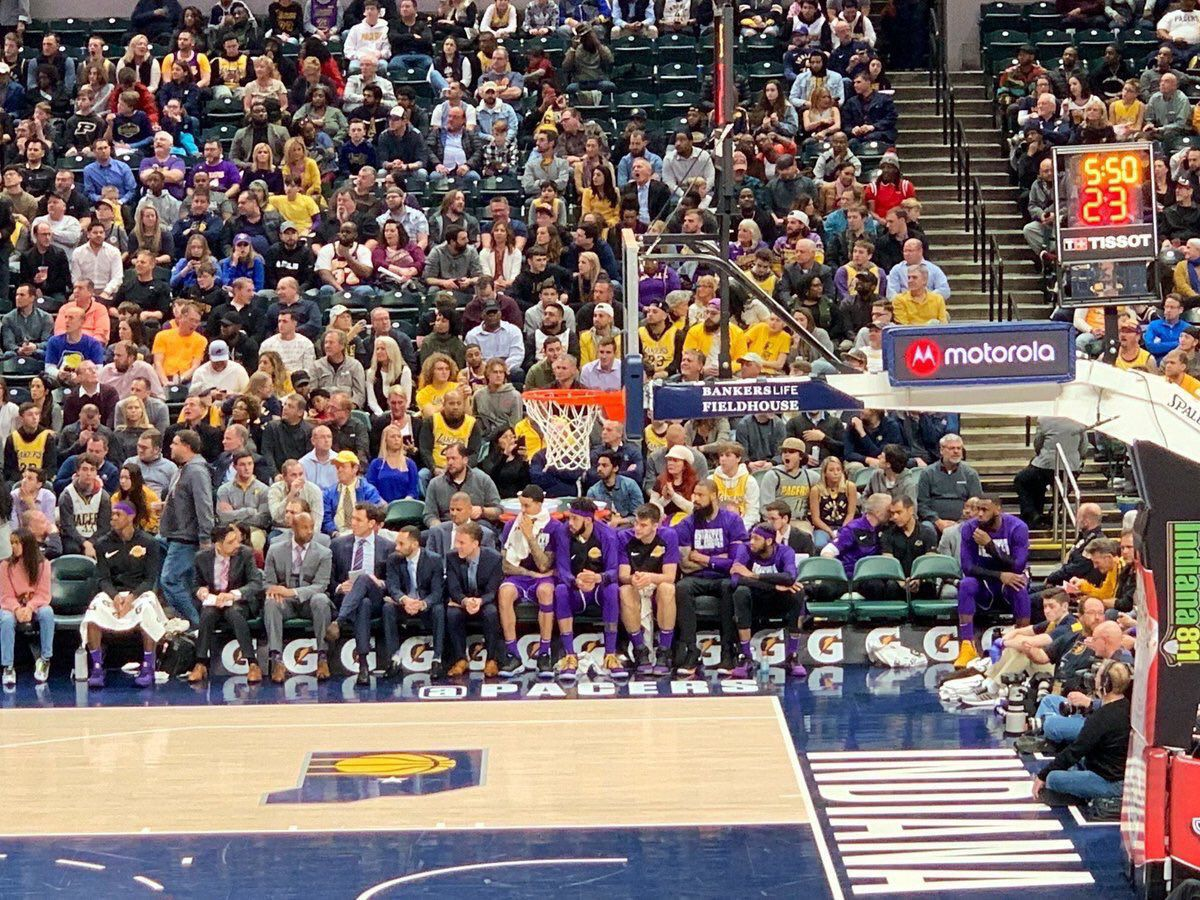Image result for lebron bench lakers