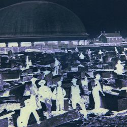 A historic photo of workers on the Salt Lake Tabernacle.