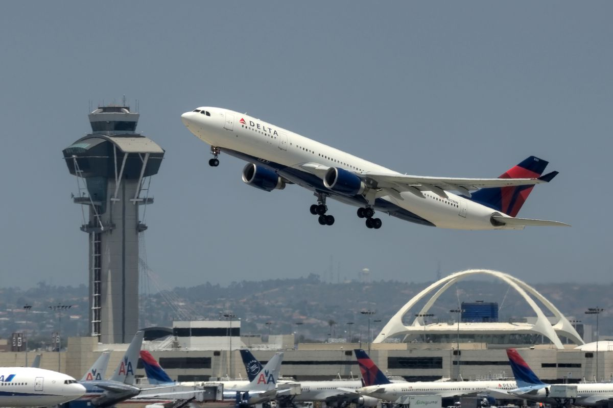 Plane taking off at LAX