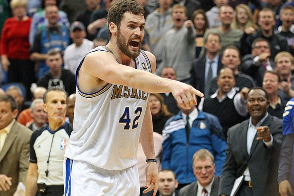 Mar 5, 2012; Minneapolis, MN, USA: Minnesota Timberwolves forward Kevin Love (42) reacts to a call in the second half against the Los Angeles Clippers at Target Center. The Timberwolves won 95-94. Mandatory Credit: Jesse Johnson-US PRESSWIRE