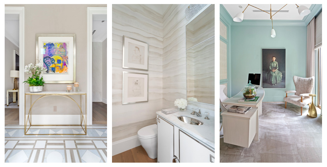 A foyer, bathroom, and study under white ceilings in a townhome.