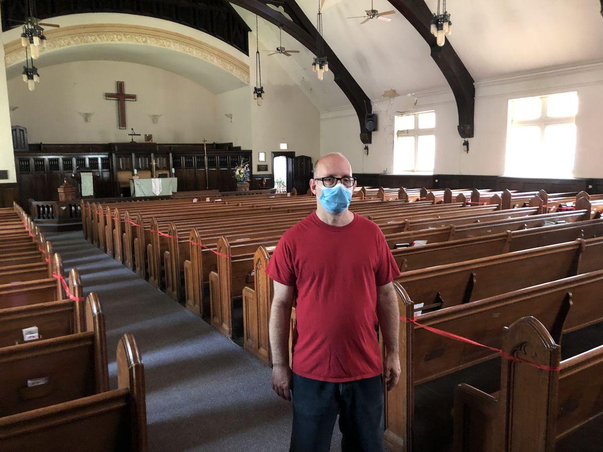 John Sansone, chair of trustees for Epworth United Methodist Church, inside the church sanctuary. It seats 600, but the church today has fewer than three dozen members.