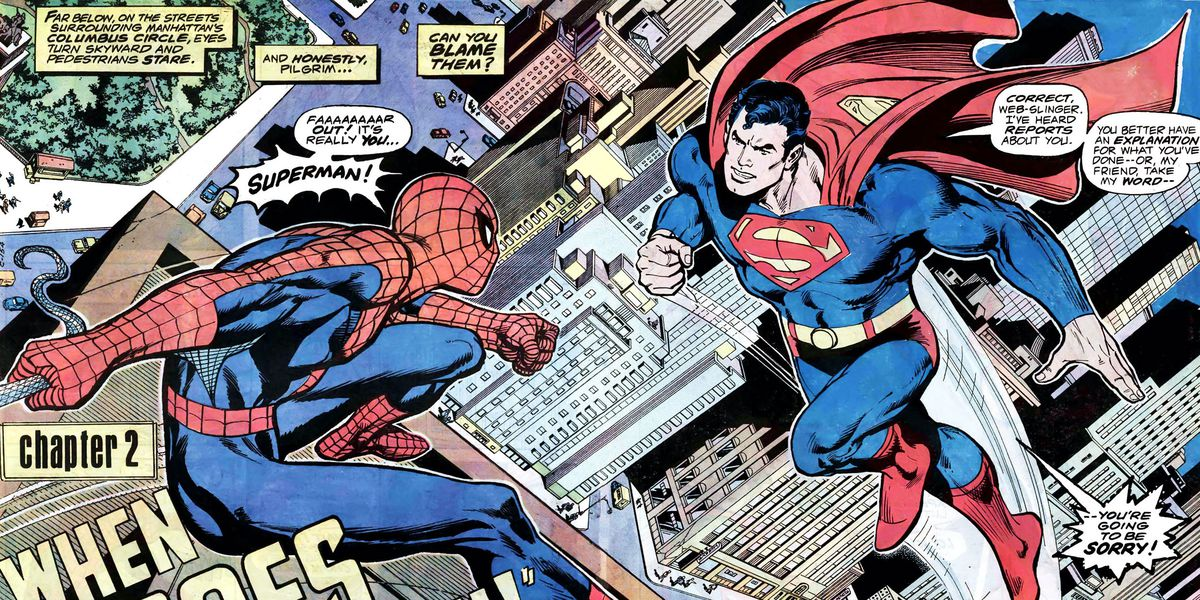 Superman and Spider-Man meet in Superman vs. the Amazing Spider-Man #1, DC Comics and Marvel Comics, 1976.