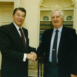 Officer Jim Shea, right, with President Ronald Reagan.