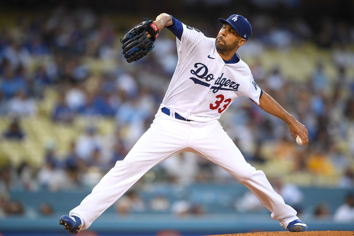 Los Angeles Dodgers starting pitcher David Price (33) in the first inning against the Pittsburgh Pirates at Dodger Stadium.