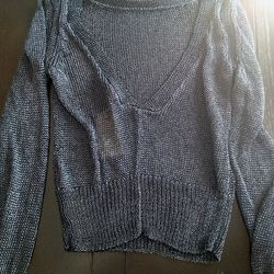Low-back metallic sweater, $89