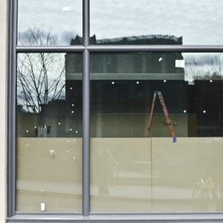 One of the large exterior windows on the Stanhope St. side.