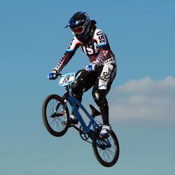 Arielle Martin of the USA in action during the Elite Women's Time Trial Superfinal at the BMX Track - Olympic Park on August 19, 2011 in London, England.  (Photo by Bryn Lennon/Getty Images)