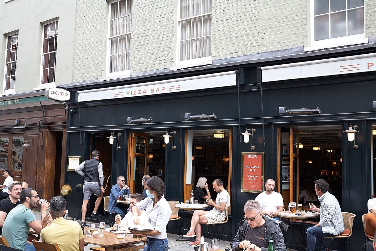 Cecconi's pizza bar on Old Compton Street, Soho, London, after lockdown