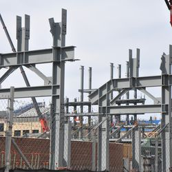 Right-field bleachers, with the left-field jumbotron structure in the background -