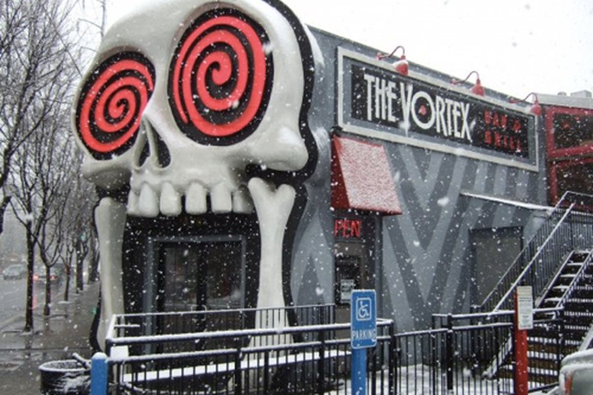 Snow day at The Vortex Bar and Grill, Little Five Points.