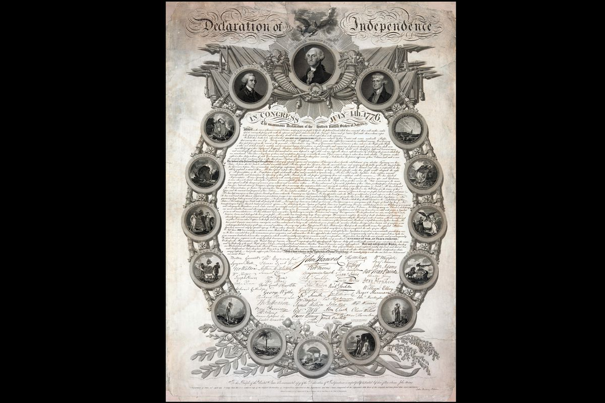 The Declaration of Independence as depicted in an 1819 copy