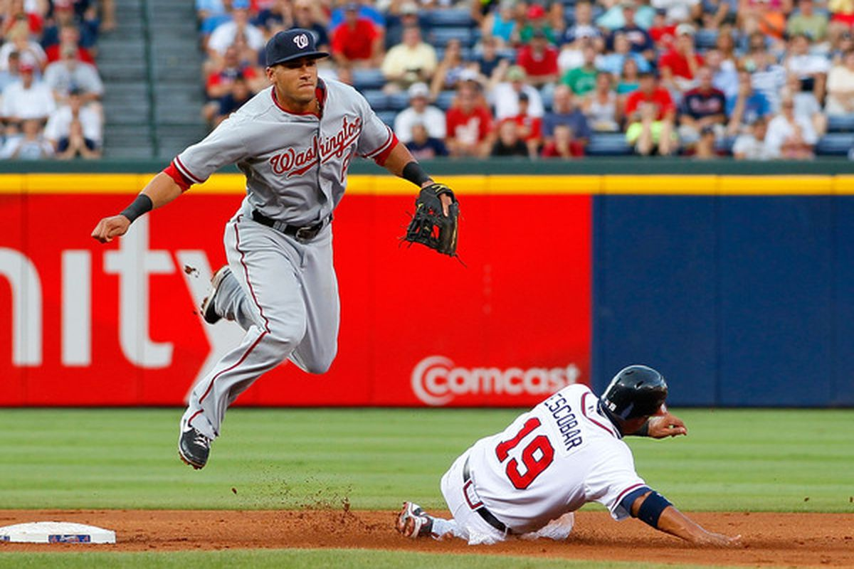 ATLANTA - JUNE 28:  Ian Desmond #6 of the Washington Nationals turns a double play over Yunel Escobar #19 of the Atlanta Braves at Turner Field on June 28, 2010 in Atlanta, Georgia.  (Photo by Kevin C. Cox/Getty Images)