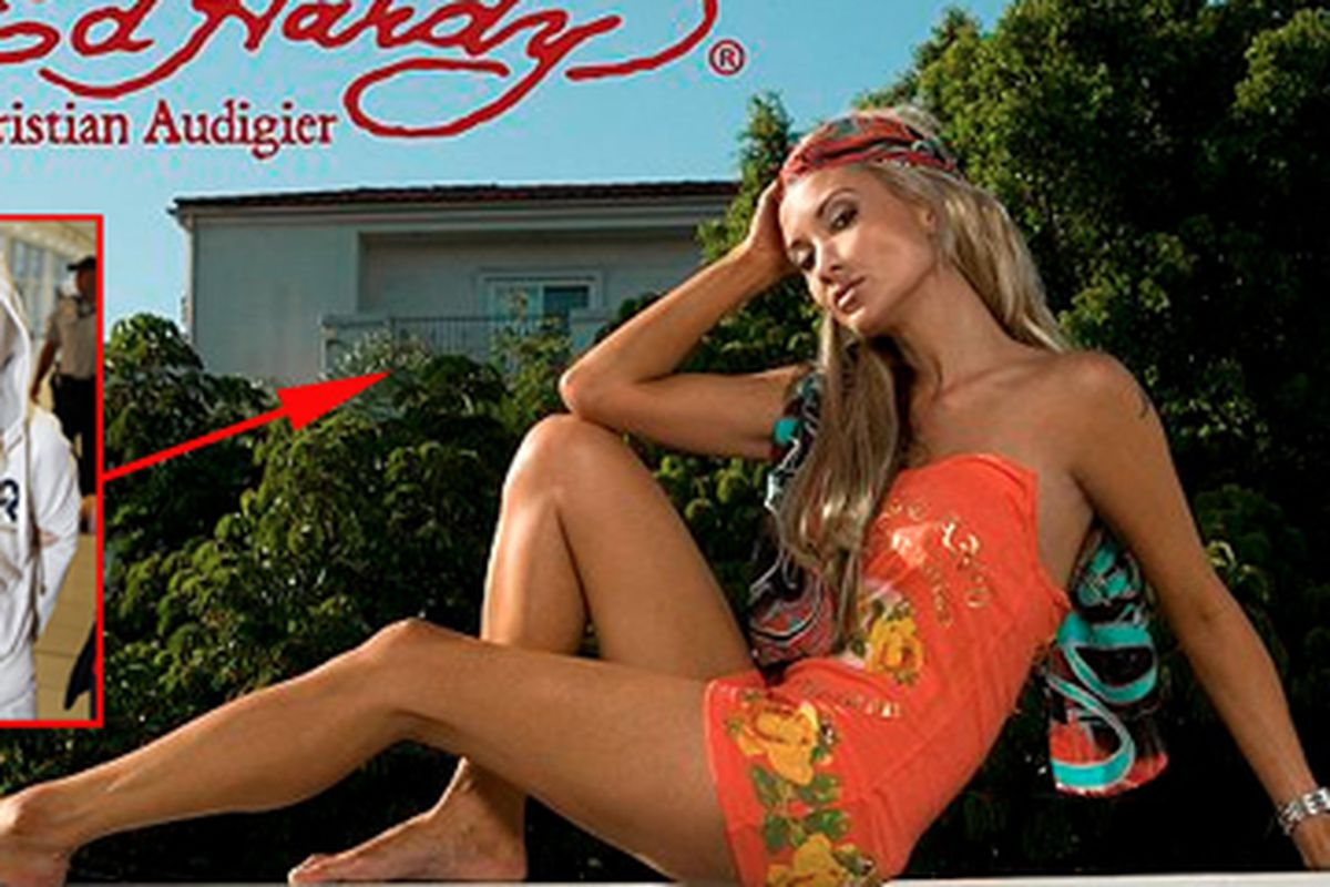 """Ed Hardy campaign image via <a href=""""http://www.dailymail.co.uk/news/article-2116607/Hollywood-swimsuit-model-Simone-Farrow-arrested-Australia-month-run-DEA.html"""">Daily Mail</a>; Simone Farrow arrest via <a href=""""http://www.news.com.au/national/pent"""