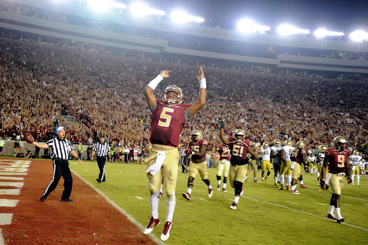 The Seminoles celebrate after a 31-27 win against Notre Dame