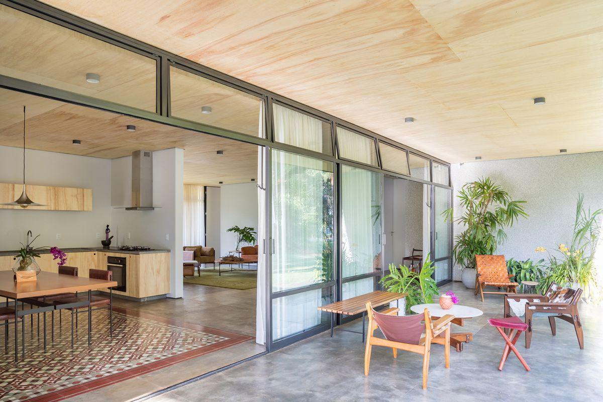 Patio with open doors