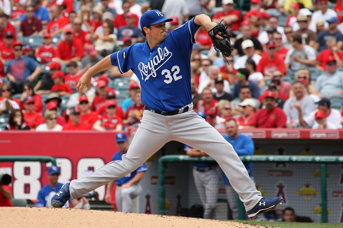 ANAHEIM, CA - JUNE 12:  Vin Mazzaro #35 of the Kansas City Royals throws a pitch against the Los Angeles Angels of Anaheim on June 12, 2011 at Angel Stadium in Anaheim, California.  (Photo by Stephen Dunn/Getty Images)