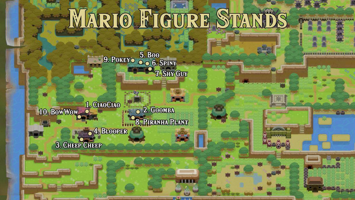 Link's Awakening Mabe Village Mario figure stand locations