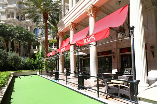 The bocce ball court on the patio at Rao's