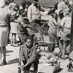 Victims of weekend rioting wait for food and clothing at the Lawndale Assn. for Social Health April 9, 1968.