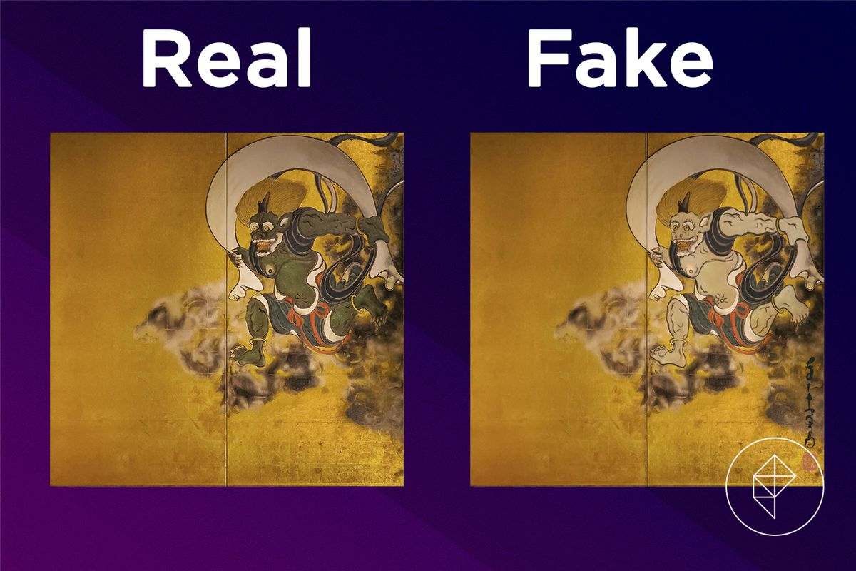 A comparison of the real and fake Wild Painting Right Half.