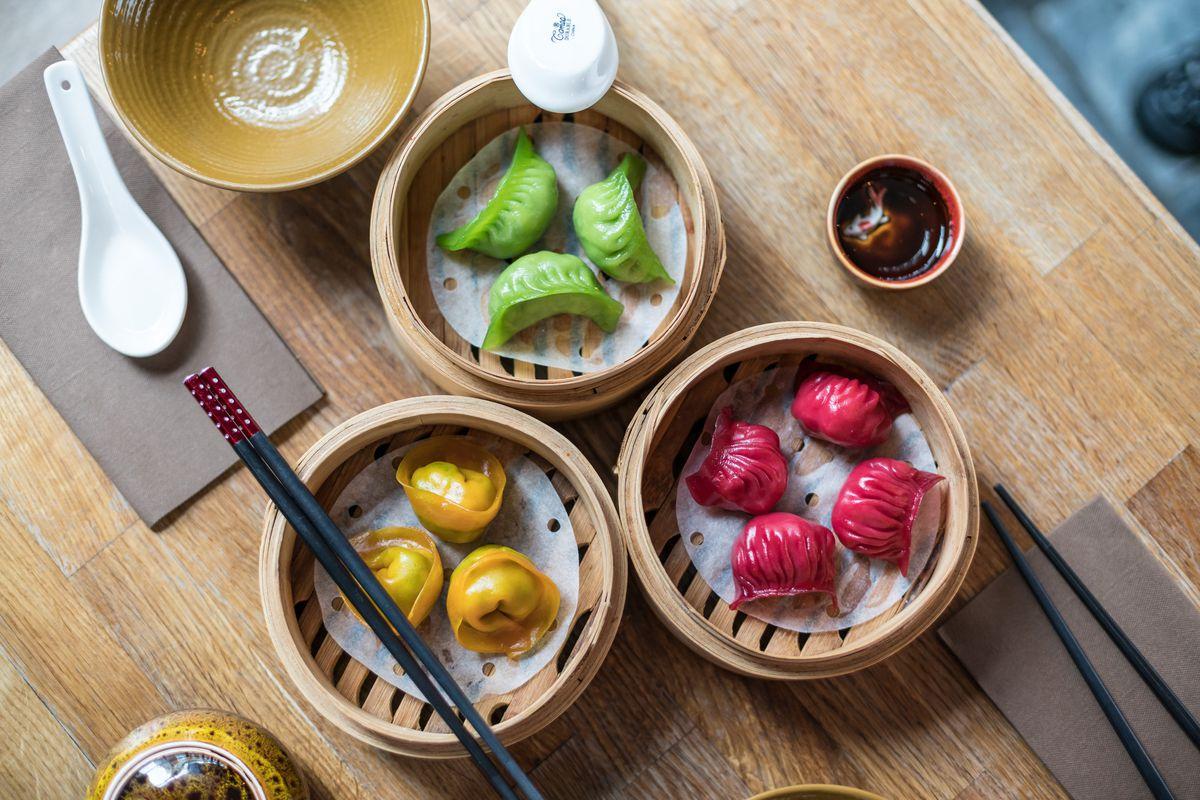 Colourful dim sum from Baozi Inn at Market Halls Victoria, the new London restaurant food hall