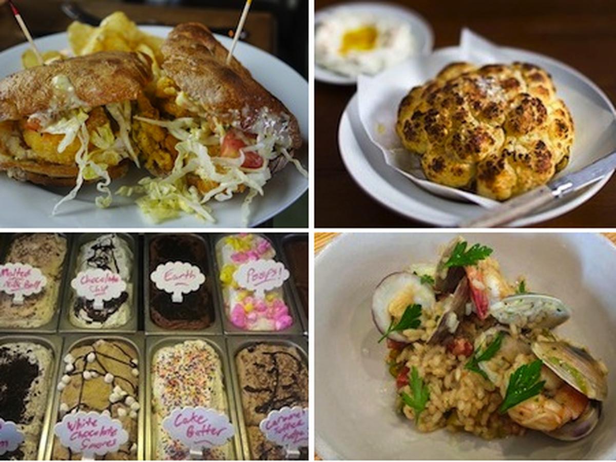 Frite Miste at Oak Oven, Cauliflower at Domenica, risotto at Pizza Delicious, and gelato at Pizza Nola