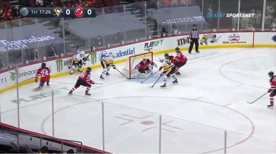 April 11: The Devils gave up a 3-on-1 to Pittsburgh on this play.  The Penguins did not make the most of it.  But the backchecking Devils either did not or could not account for Sceviour, who found the loose puck by the net.  He curled it to the near post and jammed it in for a score.