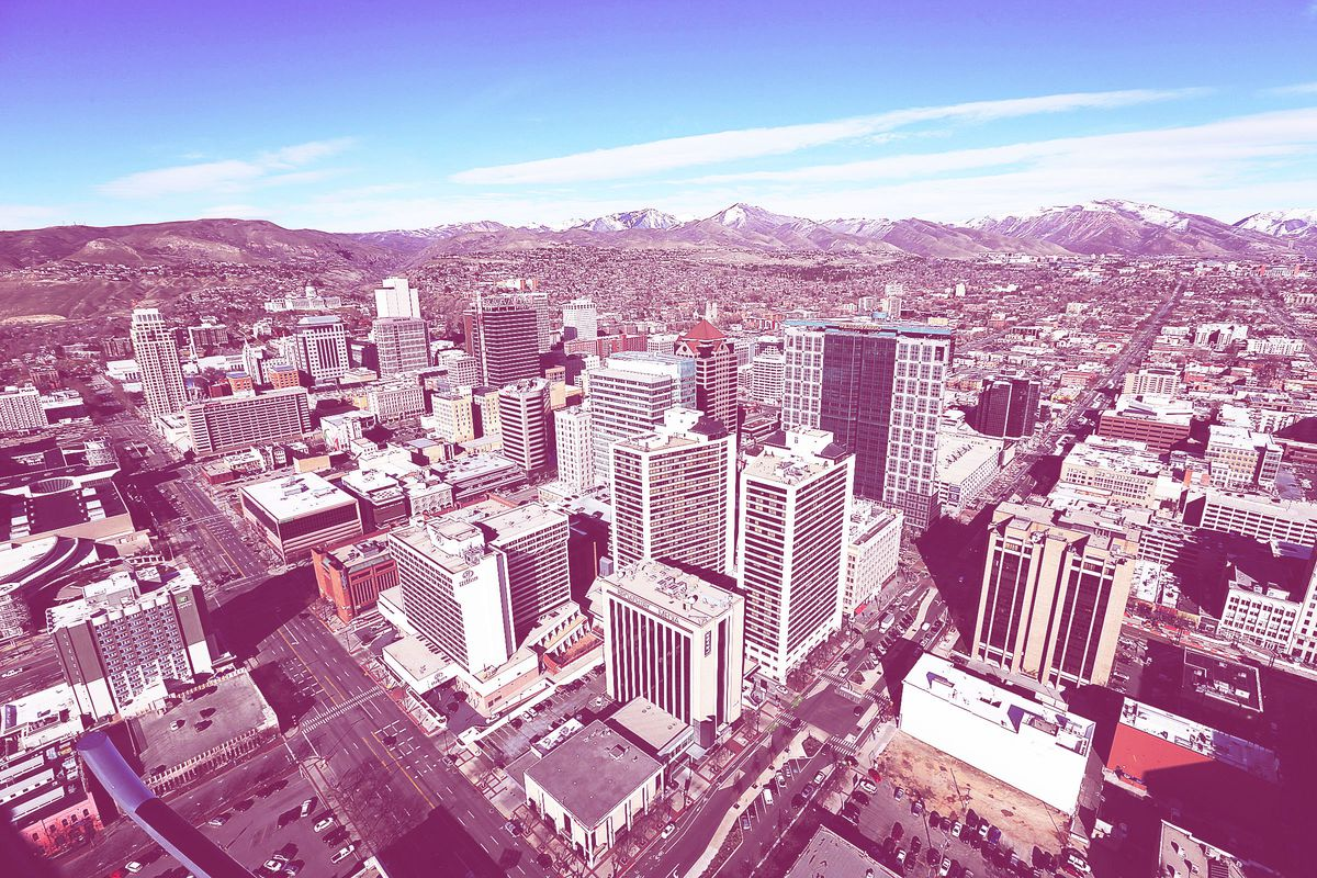 FILE - Aerial view of Salt Lake City, Wednesday, March 9, 2016.