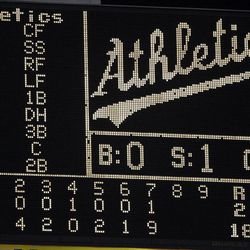 The Oakland scoreboard displays the 18-2 score in the seventh inning of a baseball game after Oakland Athletics' Josh Reddick hit a grand slam off Boston Red Sox's Mark Melancon Friday, Aug. 31, 2012, in Oakland, Calif.