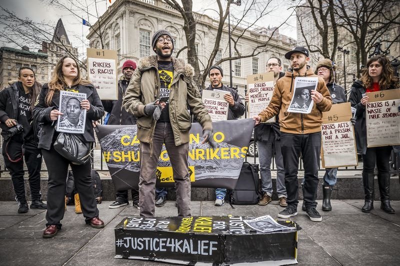 Prisoner rights activists, in seeking justice for Kalief Browder, held a press conference at New York City Hall asking for Mayor de Blasio, Governor Cuomo and Department of Correction Commissioner Ponte to immediately shut down Rikers Island, on February