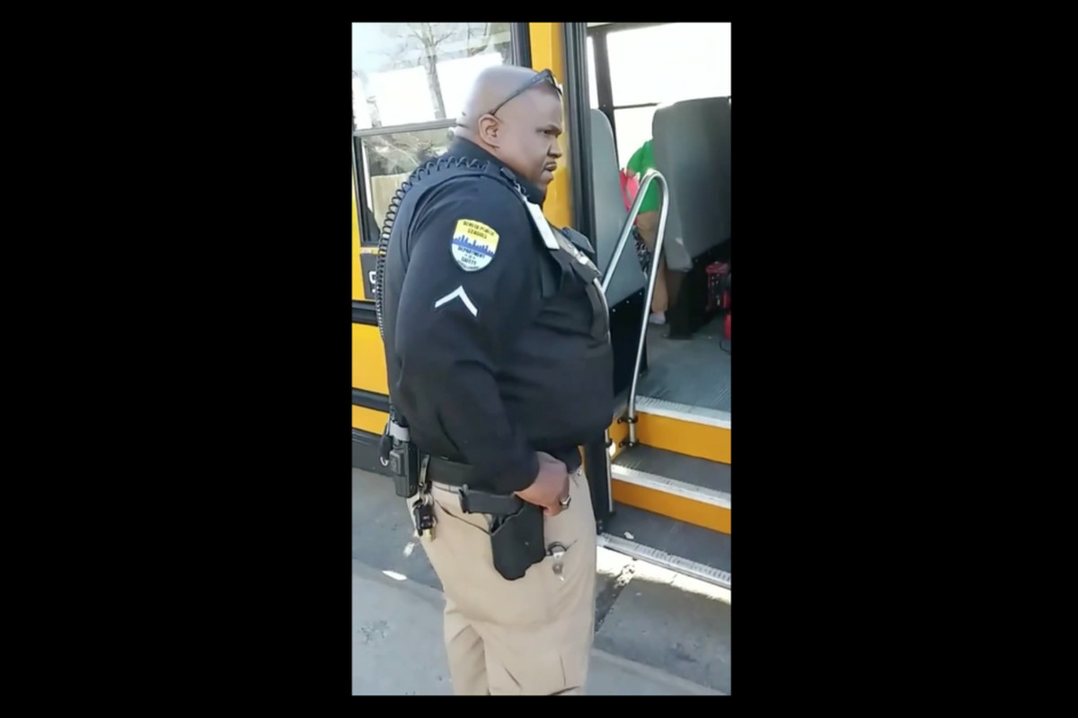 A screenshot from the mother's video shows a Denver Public Schools campus safety officer on the scene.