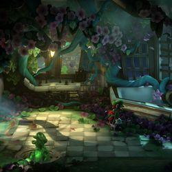 <em>Luigi's Mansion 3</em> 7F purple gem location in the blooming bathroom.