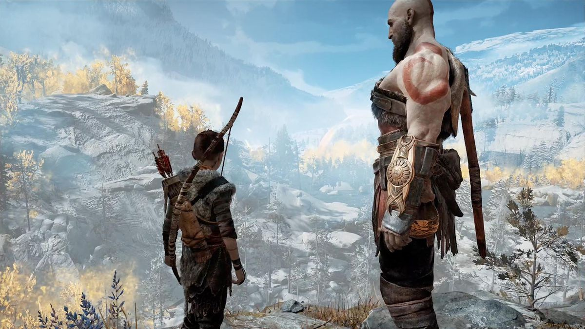 God of War - Atreus and Kratos look out over the forest they call home