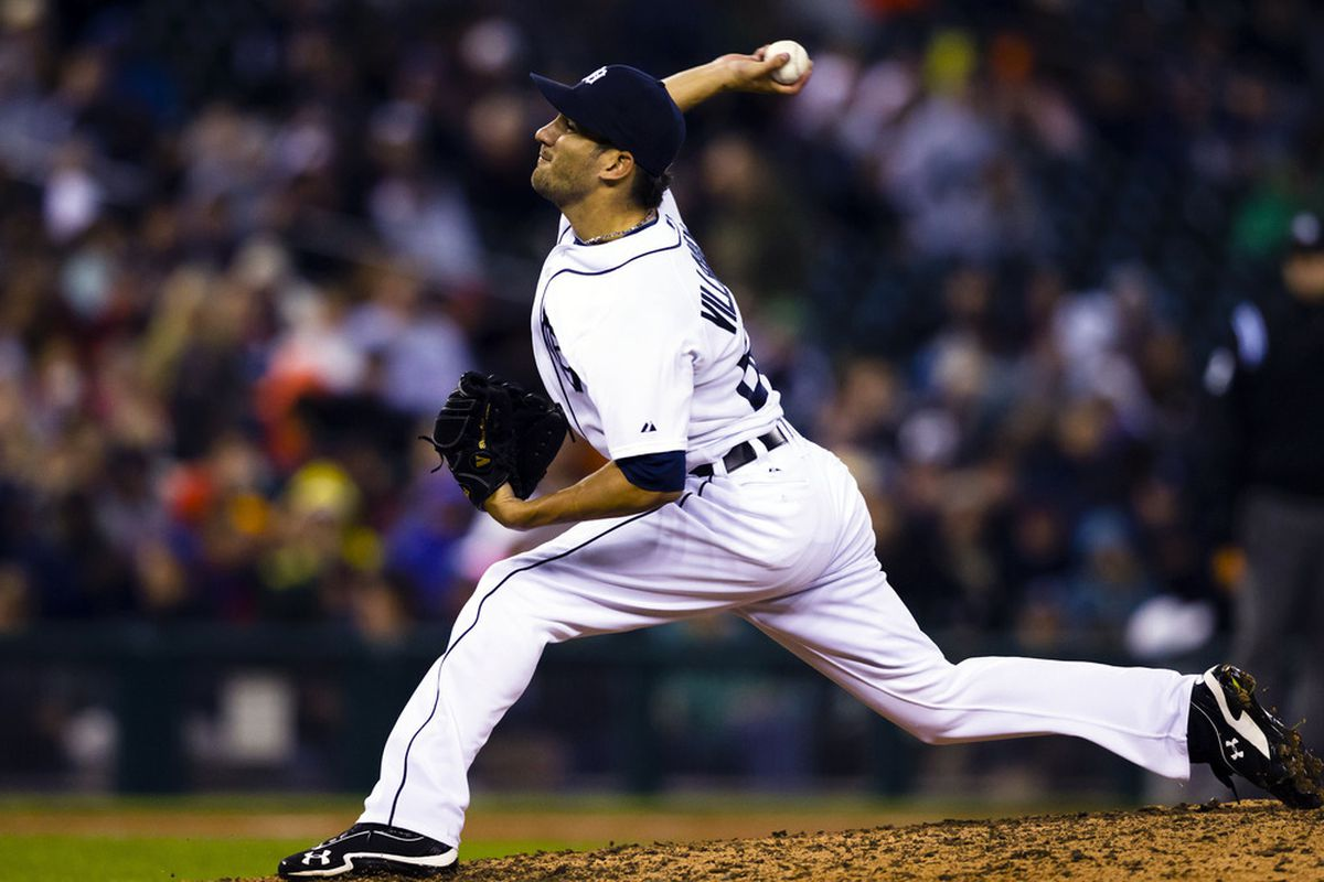 Detroit Tigers relief pitcher Brayan Villarreal (60) pitches during the eighth inning against the New York Yankees at Comerica Park. Mandatory Credit: Rick Osentoski-US PRESSWIRE