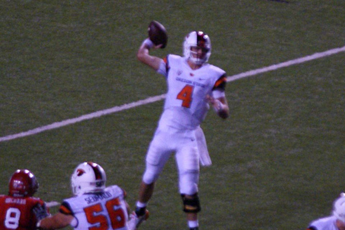 It was a dark, and sometimes stormy night in Salt Lake City, but Oregon St.'s Sean Mannion just kept firing until the Beavers had the win.