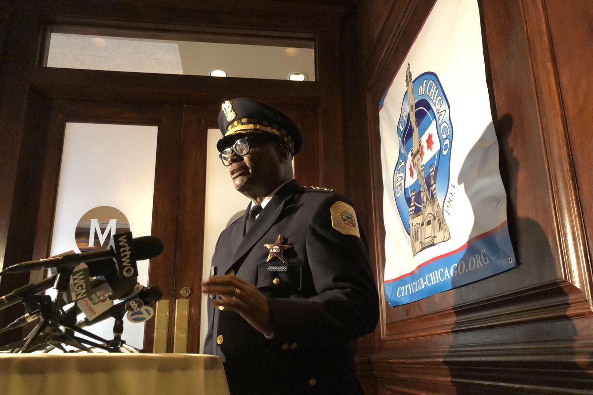 """Police Supt. David Brown answers questions from reporters after a speech hosted by the City Club of Chicago on Monday. Brown lauded a """"whole of government"""" approach to violence reduction launched last year and Mayor Lori Lightfoot's proposal to spend $30 million on expanding the program in 2022."""