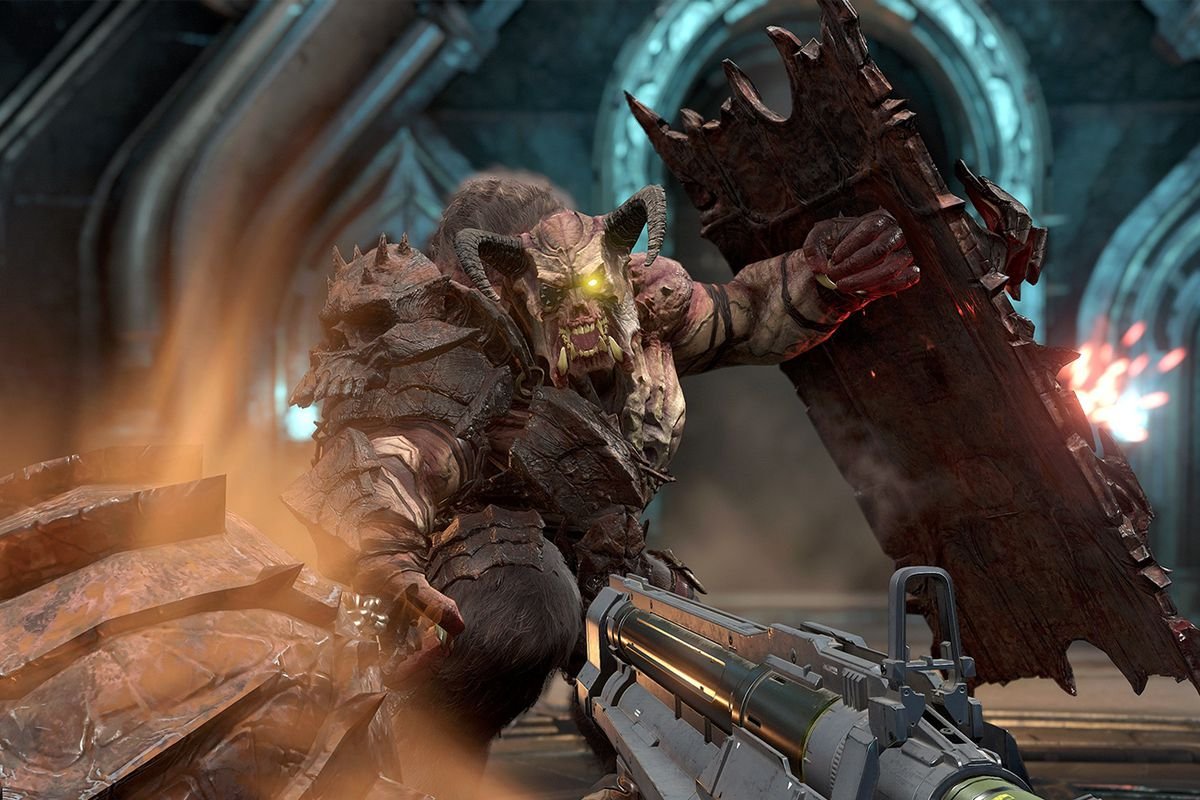 A player faces a Gladiator demon in Doom Eternal