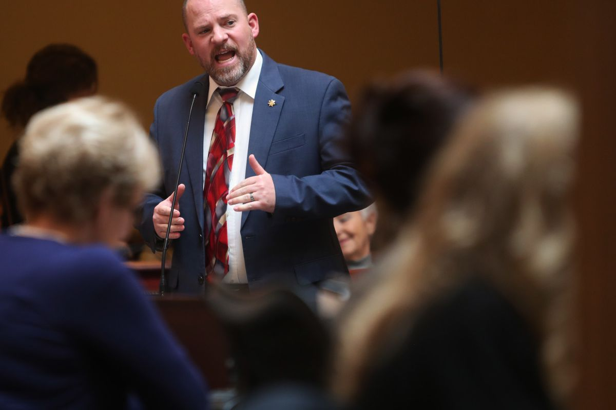 FILE - Sen. Daniel W. Thatcher, R-West Valley City, speaks at the Capitol in Salt Lake City on Monday, Feb. 4, 2019. Despite languishing for years, a bill that would add teeth to Utah's hate crime laws has — for the first time — cleared a legislative hurd