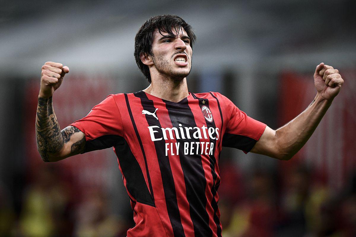 Sandro Tonali of AC Milan celebrates after scoring the...