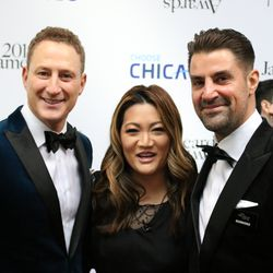 Ji Suk Yi is joined by Rob Katz and Kevin Boehm at the James Beard Award Red Carpet. | Brian Rich/Sun-Times