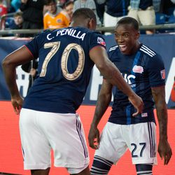 FOXBOROUGH, MA - MAY 11: New England Revolution forward Cristian Penilla #70 celebrates with midfielder Luis Caicedo #27 after Penilla's goal during the first half at Gillette Stadium on May 11, 2019 in Foxborough, Massachusetts. (Photo by J. Alexander Dolan - The Bent Musket)